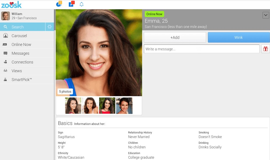 profile overview of an attractive single brunette, who is searching for a date on zoosk website.