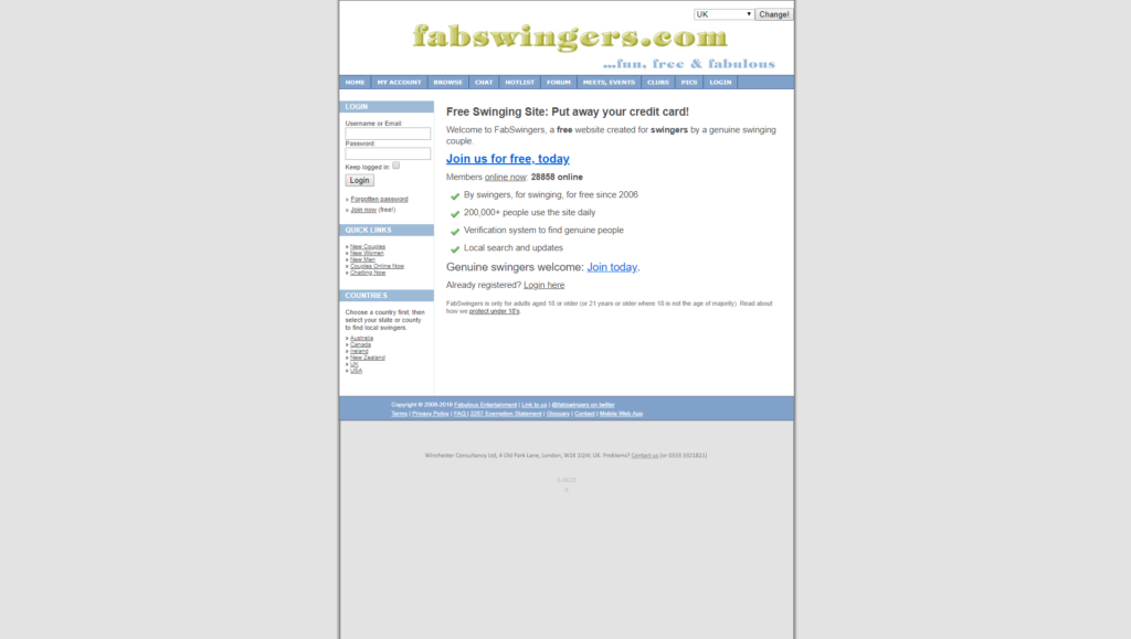 Homepage of FabSwingers dating