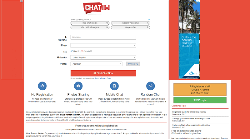 Registration page of dating site chatiw where you can easily chat to different people