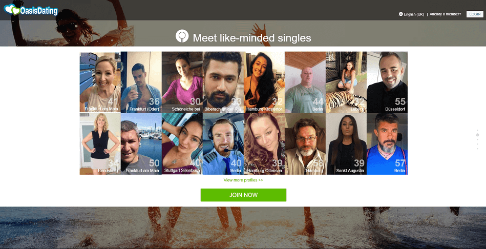 Oasis dating Homepage with several pictures of members. Women and Men smiling nicely in their profile picture.