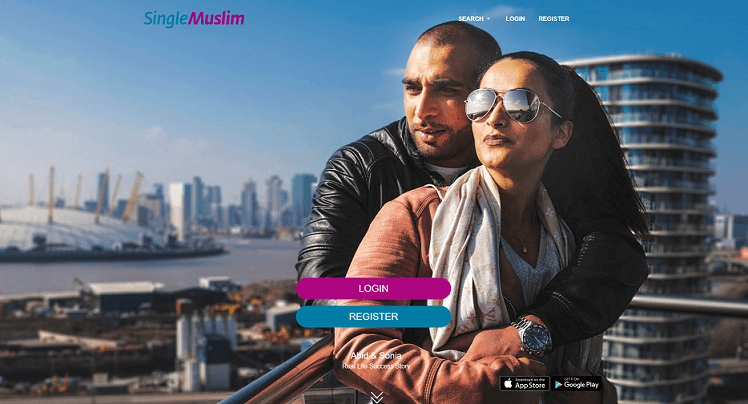 muslim couple that met on single muslim, panoramic view of a city in the background.