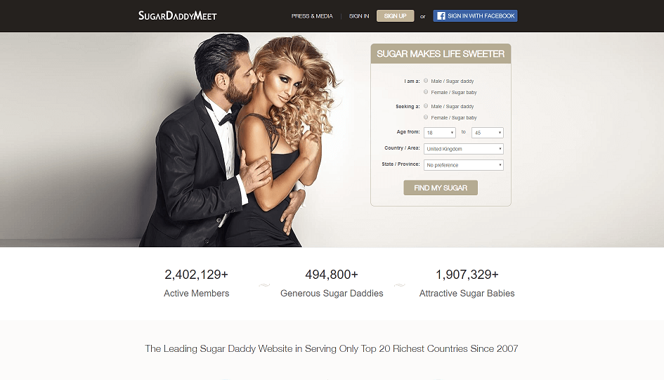 Homepage of SugarDaddyMeet dating site