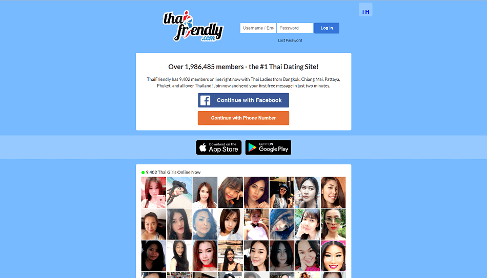 landing page of thai friendly.com extensive overview of single thai women online.