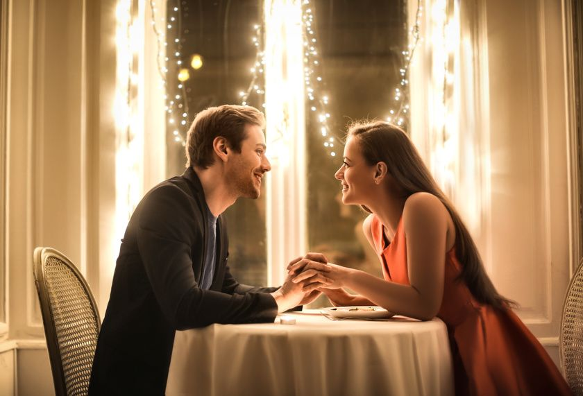 A Christian Couple on a Date in a restaurant