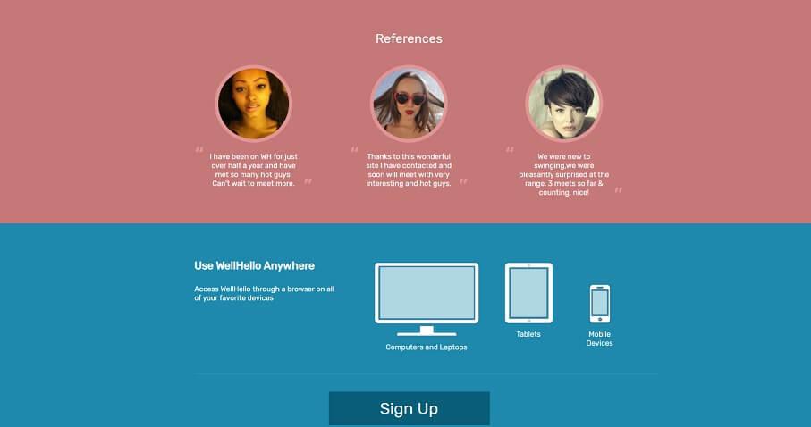 screenshot of wellhello dating site