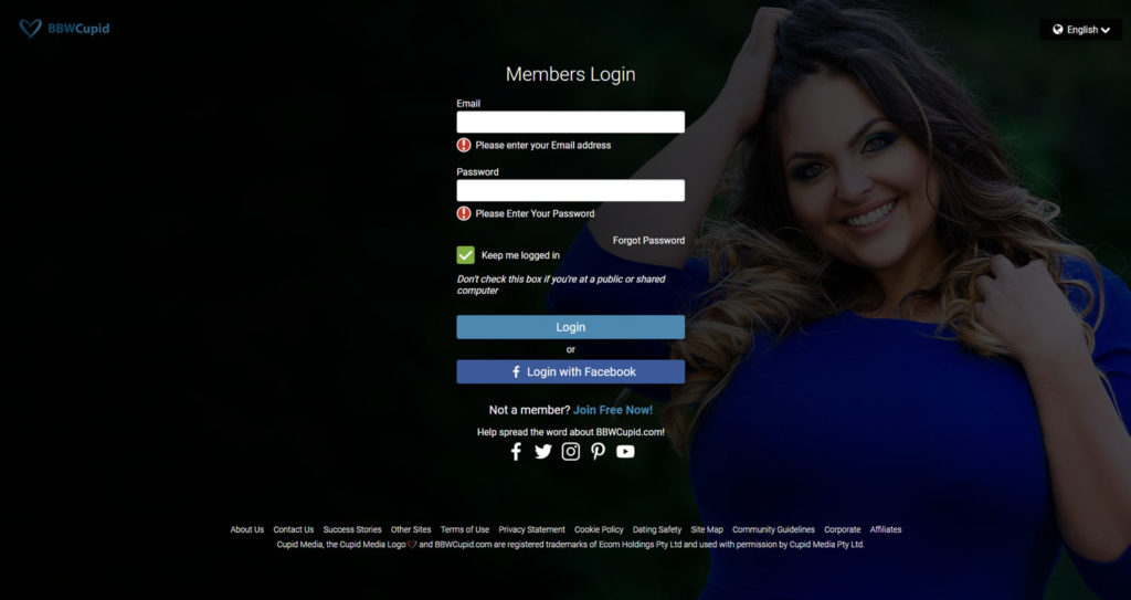 login screen bbw cupid with attractive curvy woman in the background
