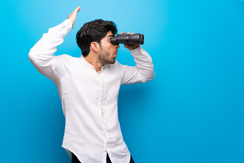 indian guy looking for love with binoculars