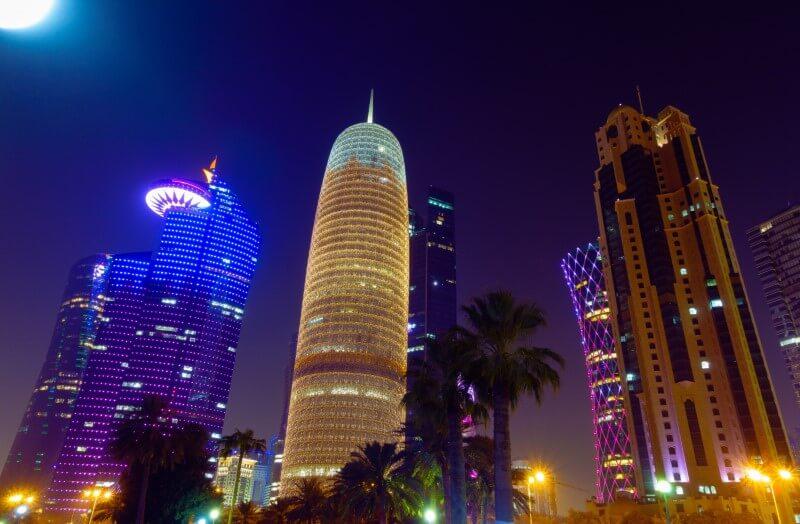 Qatar Doha Tower at night