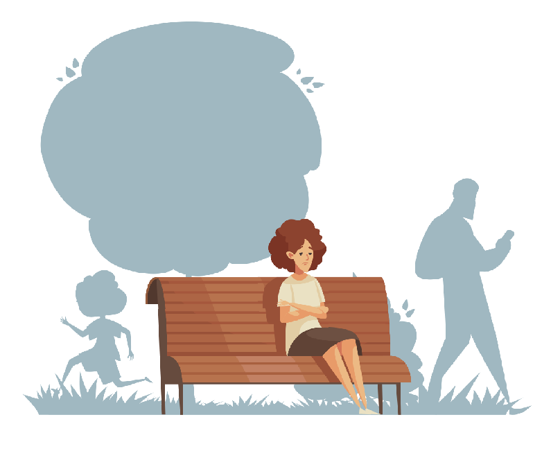 Lonely woman waiting on a bench