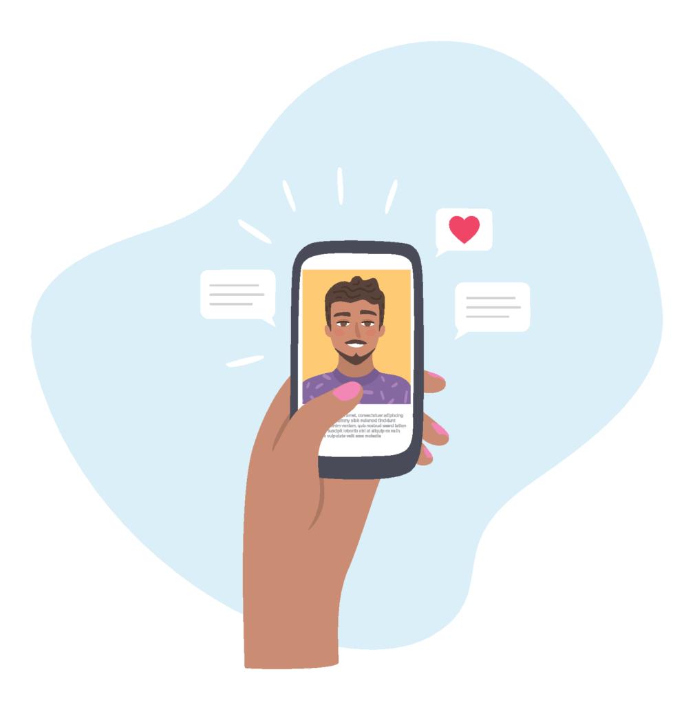 Grafik einer Frau, die Liebesbotschaften an einen Mann sendet