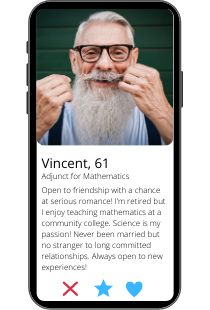 Dating profile example of Vincent on a smartphone
