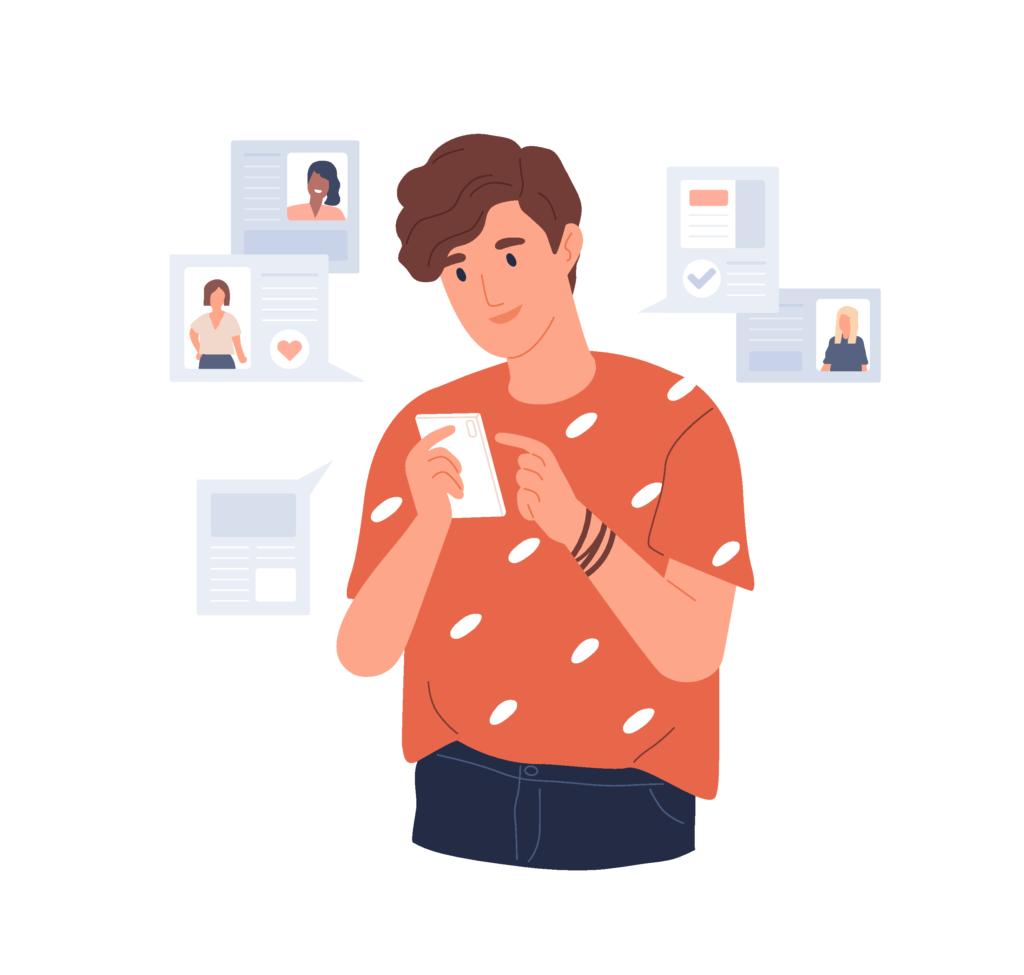 Grafik eines Mannes, der sich Nachrichten und Profile auf Tinder ansieht