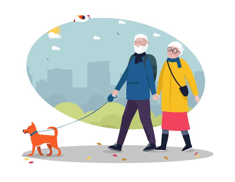 senior couple walking their dog