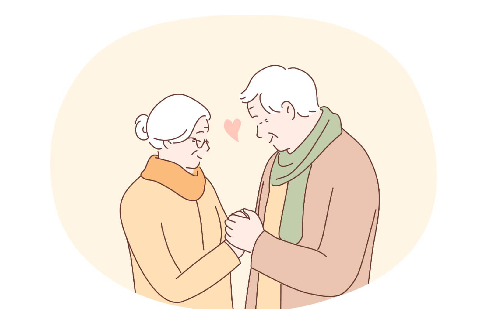 Older christian couple hold their hands in front of each other