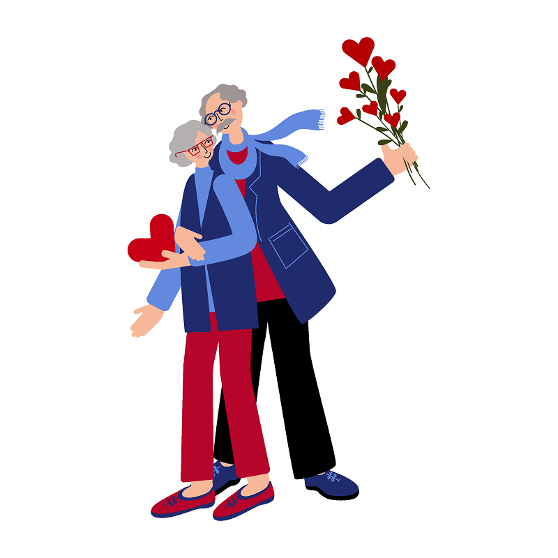 a vector picture from a senior couple holding flowers