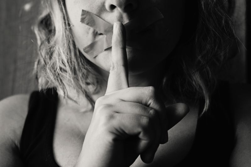 Woman silenced telling you to be quiet