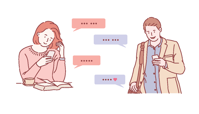 vector art of a woman and man texting each other