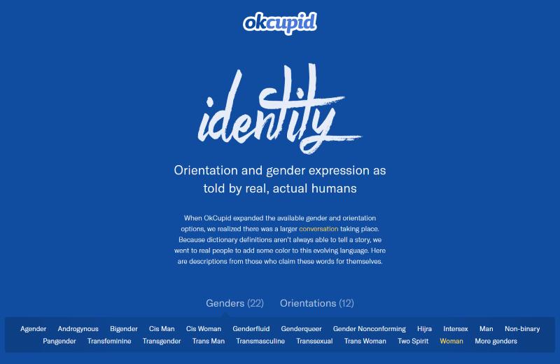 Screenshot of OkCupid's Gender Identity Options