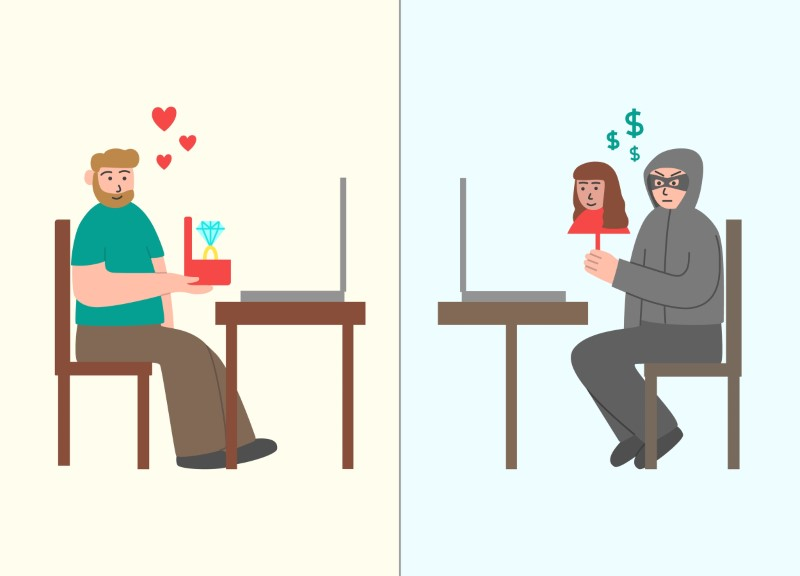 illustration of man proposing online to a scammer