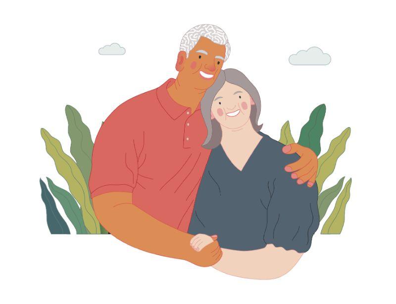 vector art of elderly couple