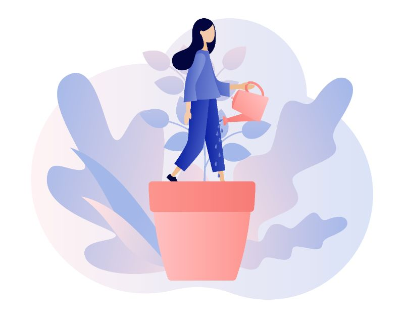 Vector art of a woman improving her confidence as represented by watering a plant