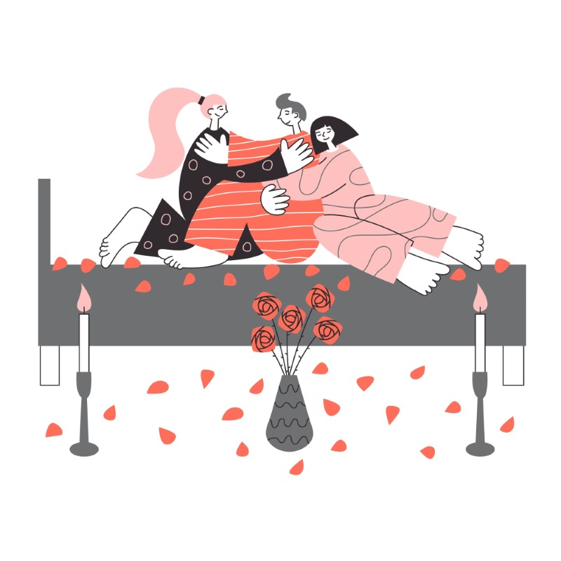 vector art of two women and one men cuddling in bed