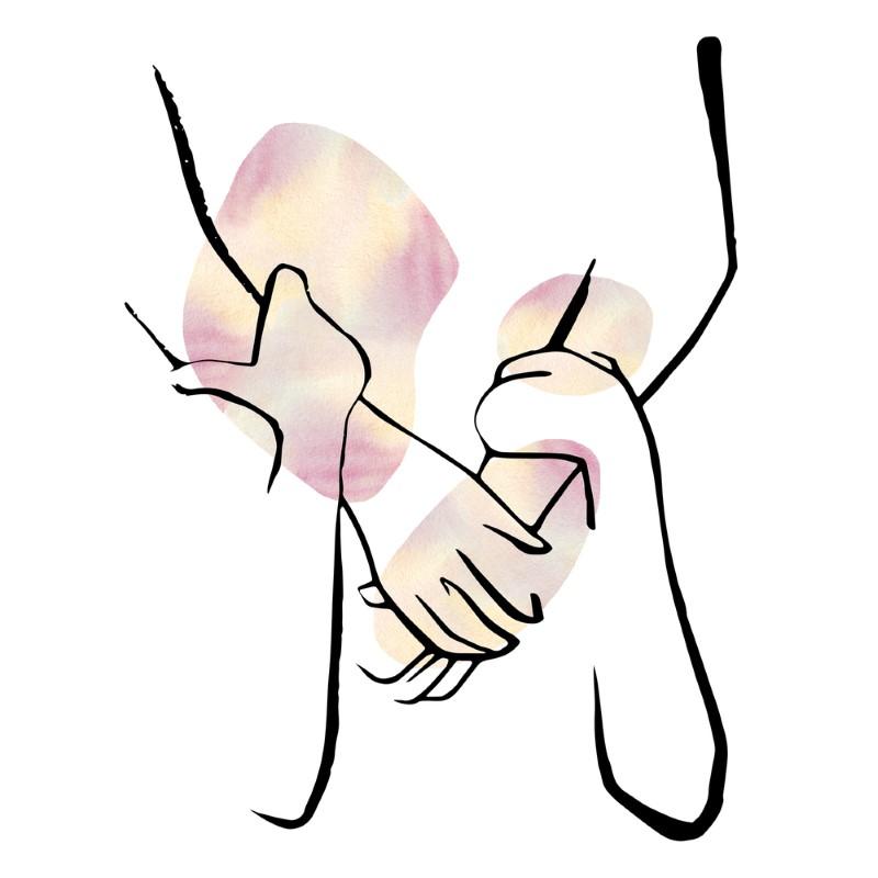 line art of a back hug
