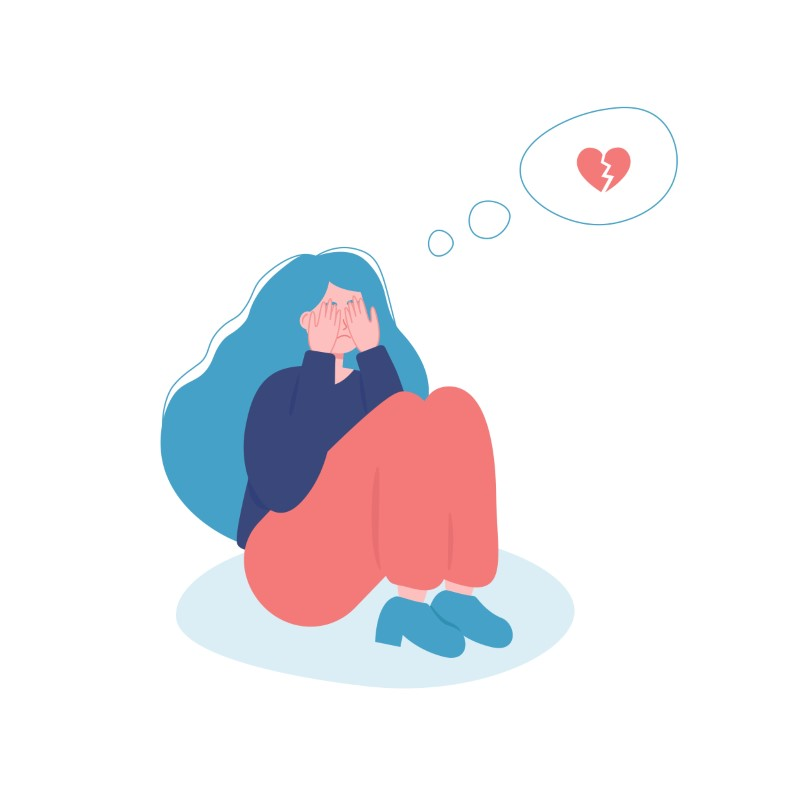 illustration of girl crying because of a broken heart
