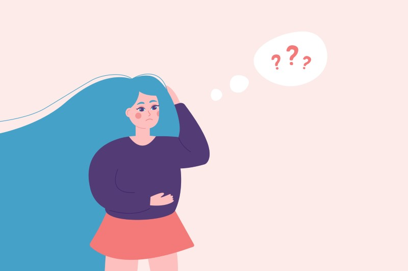 illustration of girl being clueless