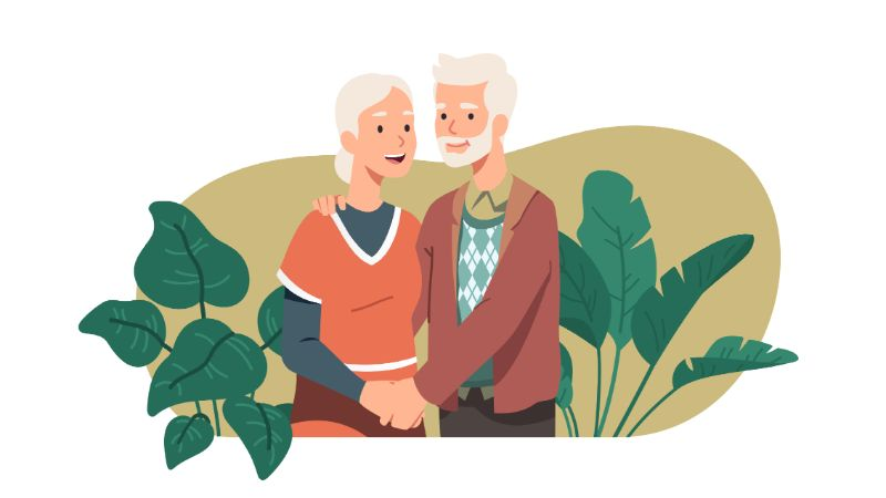 vector art of senior couple holding hands