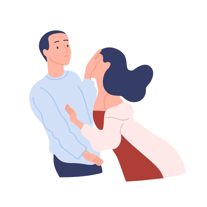 vector art of man rejecting a woman who wants to kiss him