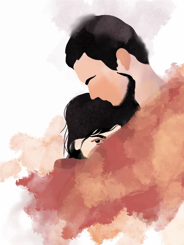 watercolor art of a man holding a smaller woman