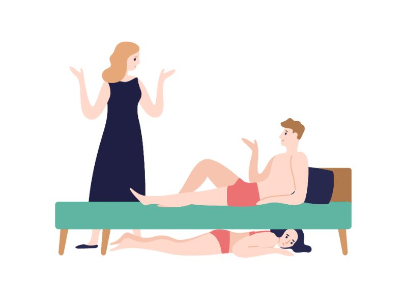 vector art of man lying in bed talking to partner while a woman in underwear is hinding under bed