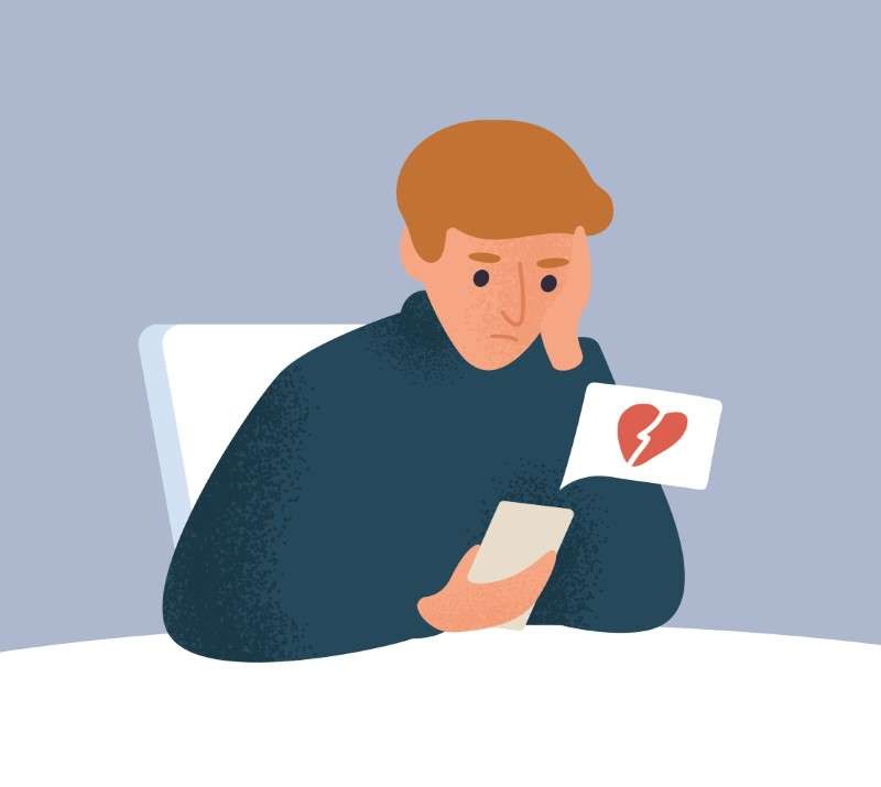 illustration of a guy on his phone facing rejection