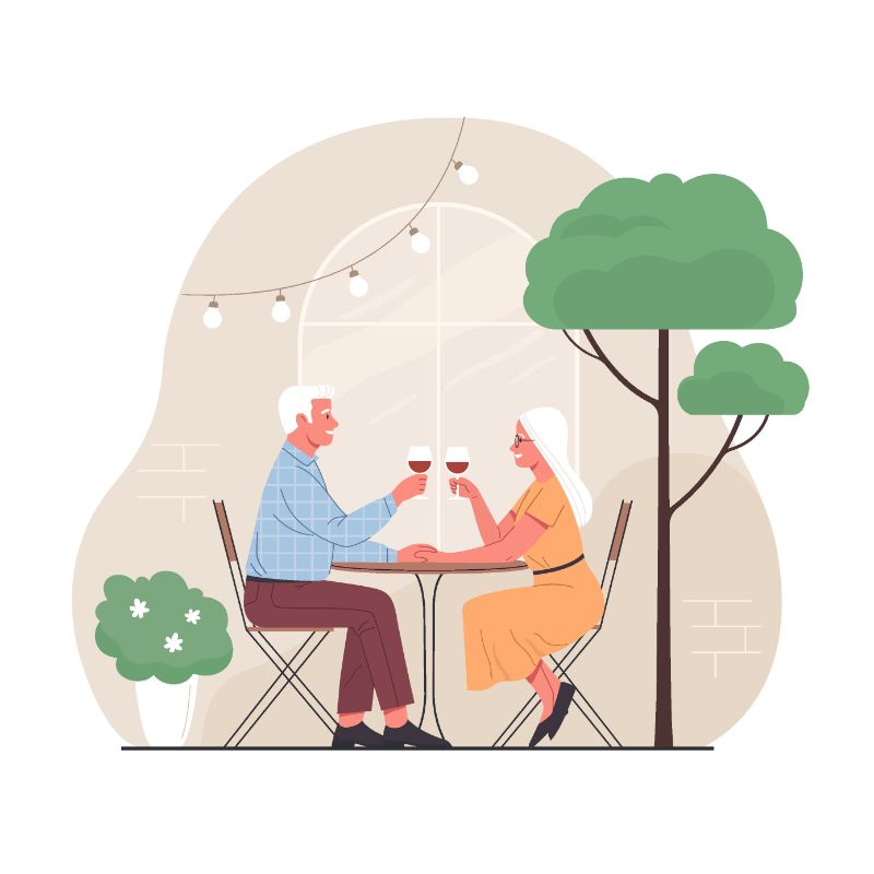 vector art of white haired man and women drinking wine at a restaurant