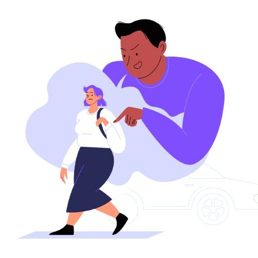 illustration of a man making a female person uncomfortable