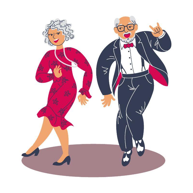 vector art of two older people dancing