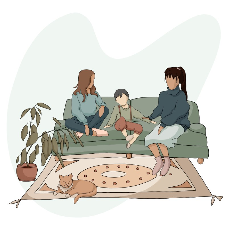 vector art of two mothers and their child sitting on a sofa while their cat sleeps on the carpet
