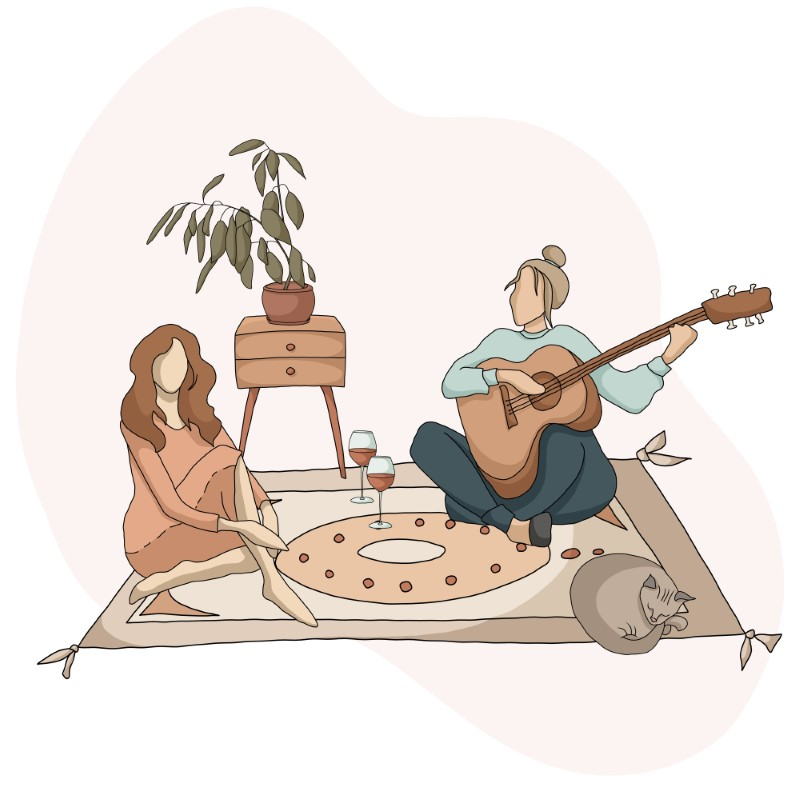 vector art of two women sitting on a carpet drinking wine while one plays the guitar