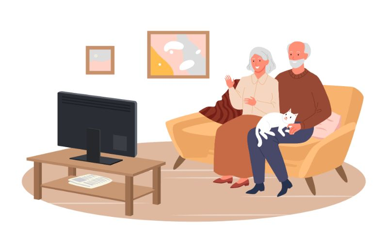 vector art of two seniors sitting on a couch wathing TV together