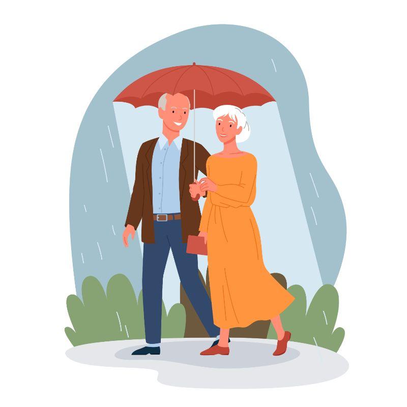 vector art of two seniors walking in the rain under an umbrella