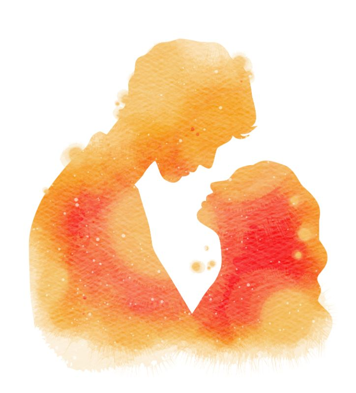 watercolor art of a couple looking at each other