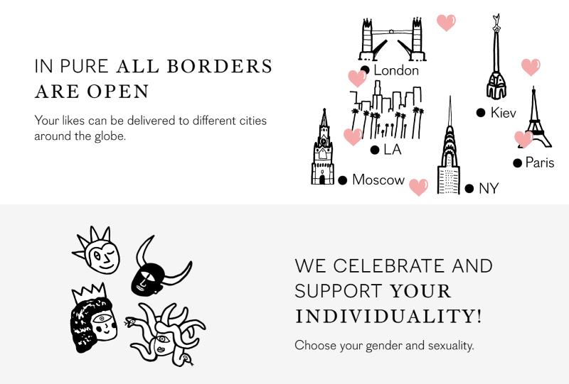 screenshot of pure dating website