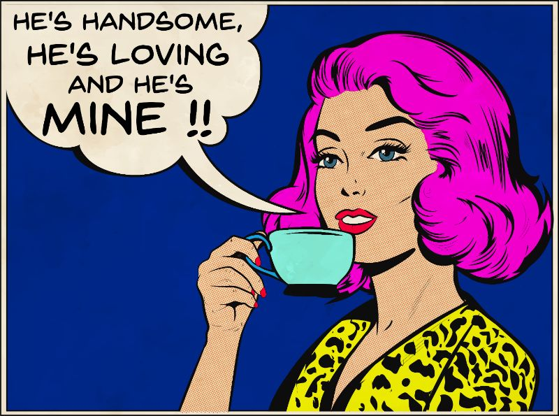 comic style woman with a cup of mine talking about her crush