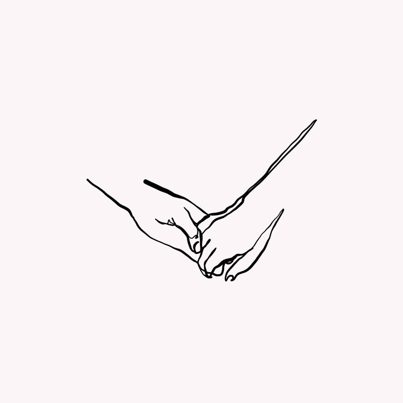 line art of two hands holding each other