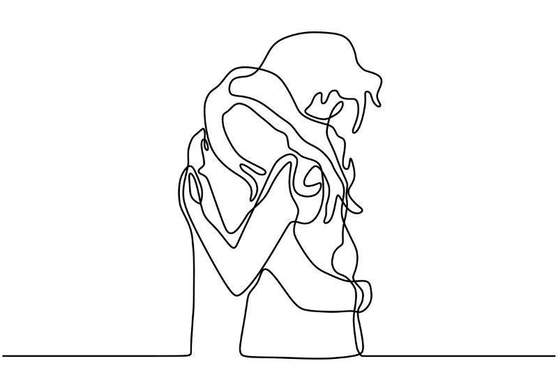 line art of a couple hugging