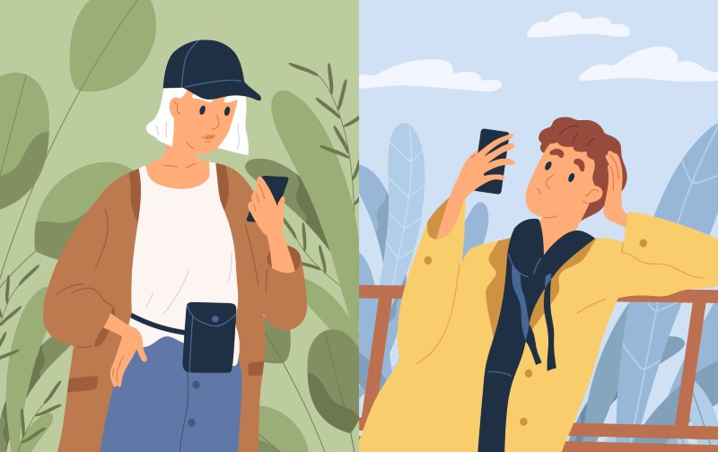 illustration of a guy and a girl communicating via phone