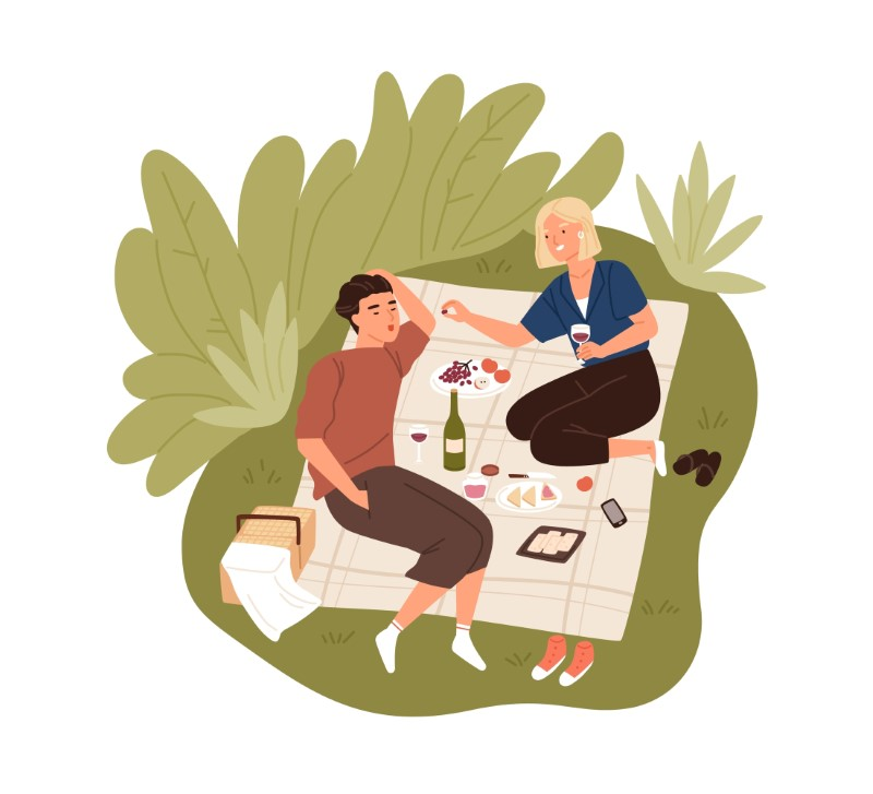 vector art of two people having a picnic as their first date