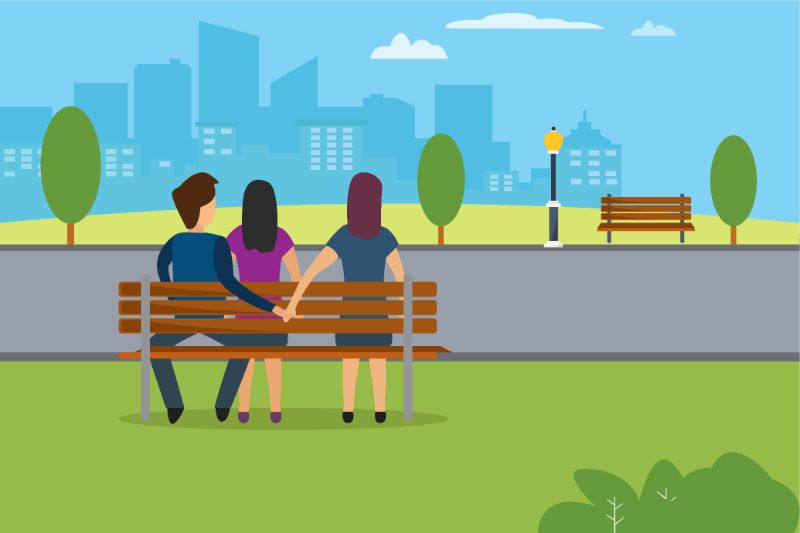 vector art of two women and one man sitting on a bench, man is holding hands with the second woman