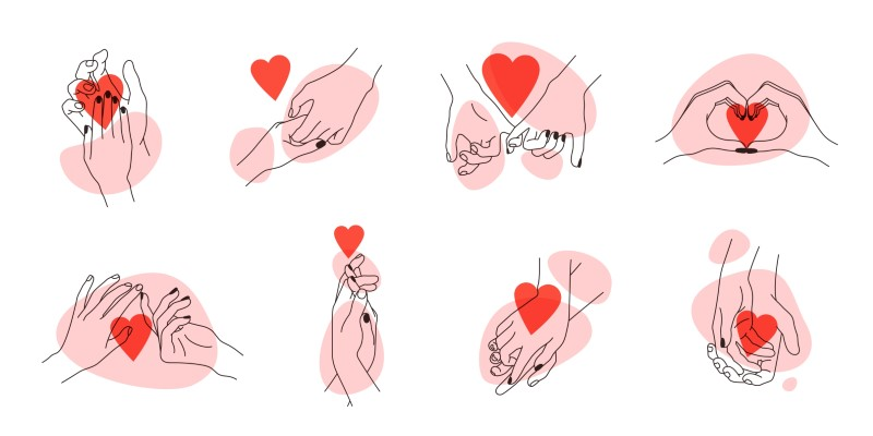 compilation of line art hands holding each other and hearts